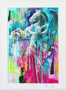 """Davide Ricchetti """"Pegasusi"""" tecnica mista su tela, 2016"""