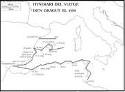 Itinerari del viatge d'en Dragut el 1550