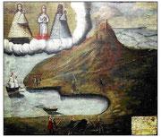 Exvot del Puig de Maria de Pollença (13 de febrer de 1754) donat per Bartomeu Campomar en acció de gràcies per haver-se salvat dels corsaris. Es reprodueix la badia de Pollença on també desembarcà el 1550 l'armada de Dragut.