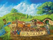Hobbits gegen Ausländer // 2015 // Digitale Malerei // 80x60cm (Original nicht mehr vorhanden)