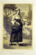 1156/ Druck aus Kunstbuch, ~1900, Blumenverkäuferin in Rom, C.Zimmermann X.A., Blatt 26x20cm, Stockflecken, EUR 15,-