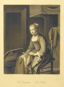 1218/ Stich, ~1900, Die Näherin, A.H.Payne, 24x18cm, EUR 20,-