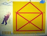 3001/ Siebdruck, 1972, Das ist das Haus vom Nikolaus, sign. Dieter Glasmacher, Rahmen 67x56cm, EUR 150,-