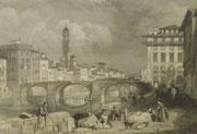 4379/ Kolorierter Stich ~1850, Ponte Santa Trinita Florenz, mit stilvollem Rahmen, H 16, B 20, etwas fleckig, EUR 38,-