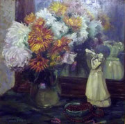 3307/ Öl/Pappe, ~1900, sig. Anna Beyer, Rahmen 67x67cm, EUR 350,-
