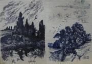 2301/ Zwei Federzeichnungen, 1985,  sign. P.Sch.,  Motiv je 15x21cm, EUR 25,-