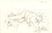 2211/ Bleistift, 1966, Penner, P.Schadwinkel unsign. (Zertifikat), 21x14cm, EUR 15,-