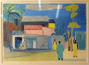 1739/ Farbholzschnitt, ~1960, unsigniert, afrikanisch, Rahmen 51x42cm, EUR 30,-