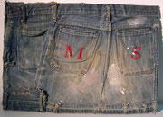 3010/ Jeanskollage/Pappe ~1960, M.Schwier, 50x36cm, EUR 80,-