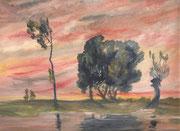 2231/ Landschaft, ~1960, P.Schadwinkel unsign. (Zertifikat), 52x25cm, EUR 25,-