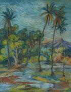 2357/ Kreide, Bali, ~1975, P.Schadwinkel unsign. (Zertifikat), 30x36cm, EUR 35,-