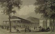 4347/ Stahlstich ~1850, Der Brunnen Pavillon - Kissingen, Wegelin del., Buhl sc, Frankfurt/Main C.Jürgel, Rahmen H 17, B 23cm, EUR42,-