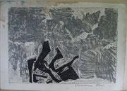 2304/ Siebdruck auf Strukturpapier, ~1965, unleserlich signiert, Wasserflecken oben links, 53x39cm, EUR 25,-
