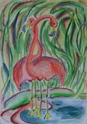 2188/ Flamingos, ~1990, L.Peltz unsign. (Zertifikat), Din A3, EUR 95,-