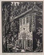 0701/ Holzschnitt, ~1920, Münchhausens Gästehaus, sign. Rudolf Riege, 34x40cm, EUR 30,-