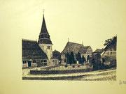 1173/ Radierung, 1978, Kirche in Hamburg-Curslack, sign. Rico Chozas, 32x48cm, EUR 22,-