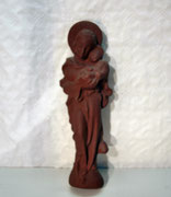 4122/ Marienskulptur ~1920, Ton, Wandöse, H 38cm, EUR 150,-