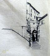 2471/ Tusche, ~1970, P.Schadwinkel unsign. (Zertifikat), 30x42cm, EUR 20,-