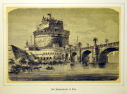1148/ Druck aus Kunstbuch, ~1900, Engelsbrücke in Rom, C.Zimmermann X.A., Blatt 20x26cm, Stockflecken, EUR 15,-