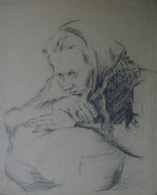 2198/ Bleistift, ~1970, P.Schadwinkel unsign. (Zertifikat), 30x36cm, EUR 35,-