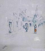3162/ Federzeichnung, 1960,sign. H.v.Boddien, Rahmen 44x52cm, EUR 20,-