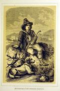 1161/ Druck aus Kunstbuch, ~1900, Hirtenjunge bei Rom, C.Zimmermann X.A., Blatt 26x20cm, Stockflecken, EUR 15,-