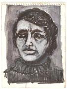 2224/ ~1980, Selbstporträt, P.Schadwinkel unsign. (Zertifikat), 19x14cm, EUR 20,-