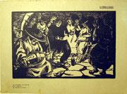 1183/ Holzschnitt, ~1900, La Bourée d'Auvergne, Maurice Bussot, 28x37cm, EUR 80,-