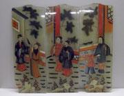 3486/ 3 Lampengläser ~1900, China, Hinterglasmalerei, je 14,5x39cm, EUR 180,-