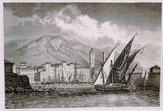 0677/ Stahlstich, ~1900, Toulon/Frankreich, 30x20cm, stockfleckig, EUR 15,-