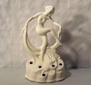 3749/ Skulptur Tänzerin ~ 1920, Halbsteingut, Marke:10/65, H 17cm, EUR 76,-