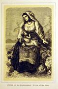 1167/ Druck aus Kunstbuch, ~1900, Tracht aus Vignerole, C.Zimmermann X.A., Blatt 26x20cm, Stockflecken, EUR 15,-