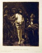 1198/ Radierung ~1900, Christus vor Pilatus, Unger, 40x30cm, Stockflecken, 20,-