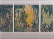 "3325/ Email-Trilogie ""Ausweg"" ~1970, sign. Käthe Ricke, 29x15cm, EUR 60,-"
