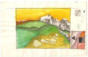 2263/ Landschaft, ~1960, P.Schadwinkel unsign. (Zertifikat), 23x15cm, EUR 25,-