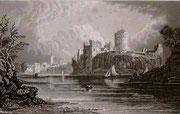 0663/ Stahlstich, ~1900, Pembroke Castle, 30x20cm, stockfleckig, EUR 15,-