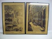 3091/ 2 Grafiken, ~1920, Alt-Hamburg, Fritz Sommer, verglast, Din A4, EUR 40,-