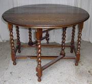 KT0406/ Gateleg Table ~1900, Englischer Klapptisch für 6 Personen,  Eiche dunkel, H 72, L 49-149, B 106cm, EUR 380,-