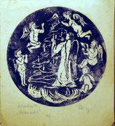 1214/ Holzschnitt, 1947, monogrammiert HH, 20x18cm, EUR 20,-