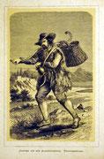1158/ Druck aus Kunstbuch, ~1900, Fischverkäufer Albanergebirge, C.Zimmermann X.A., Blatt 26x20cm, Stockflecken, EUR 15,-