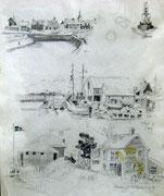 2276/ Bleistift, 1973, Norwegen, Peter Schadwinkel unsign. (Zertifikat), 27x35cm, EUR 15,-