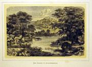 1166/ Druck aus Kunstbuch, ~1900, Nemisee im Albanergebirge, C.Zimmermann X.A., Blatt 20x26cm, Stockflecken, EUR 15,-