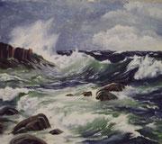 3230/ Felsen am Meer, ~1975, Peter Schadwinkel unsign. (Zertifikat), 29x24cm, EUR 40,-