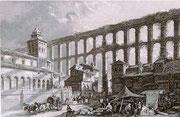 0672/ Stahlstich, ~1900, Segovia/Spanien, 30x20cm, stockfleckig, EUR 15,-