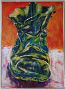 1 Schuh, Acryl auf Karton, 50 x 70 cm, Susanna Schürch 2011 , gerahmt, Fr.700.-