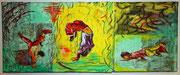 unverkäuflich,Kindergartenbreaker, Collage, Öl, gewachst, auf Leinwand, 20 x 50 cm, Susanna Schürch 2011
