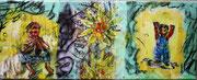 unverkäuflich,Kinderszenen, Collage, Öl, gewachst auf Leinwand, 20 x 50 cm, Susanna Schürch 2011