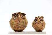 Bronze Stone Owl Couple