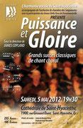 """mai 2012: """"puissance et gloire"""": grands succès de la musique chorale"""