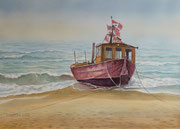 Fischerboot, 30x40, Aquarell auf Papier